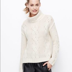 Ann Taylor Cashmere Cable Knit Sweater in Cream